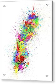 Sweden Paint Splashes Map Acrylic Print