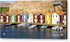 Swedish Boathouses Acrylic Print by Lutz Baar