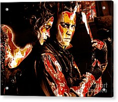 Sweeny Todd - Johnny Depp,helena Bonham Acrylic Print by Prar Kulasekara
