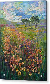 Acrylic Print featuring the painting Sweep Of Wildflowers by Erin Hanson