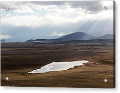 Acrylic Print featuring the photograph Sweeping Plain And A Small Lake Between Mountain Foothills Near Fairplay In Park County by Carol M Highsmith