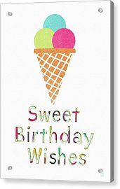 Sweet Birthday Wishes- Art By Linda Woods Acrylic Print by Linda Woods