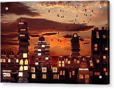 Sweet Cityscape  Acrylic Print by Floriana Barbu