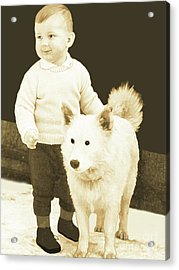 Acrylic Print featuring the painting Sweet Vintage Toddler With His White Mutt by Marian Cates