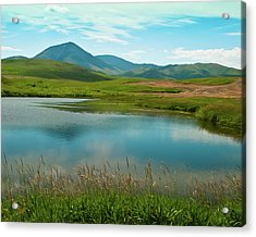 Sweetgrass Hills Fishing Hole Acrylic Print by Harry Strharsky