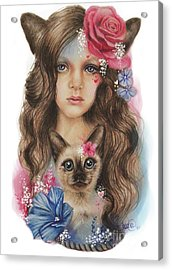 Acrylic Print featuring the mixed media Sweetheart by Sheena Pike