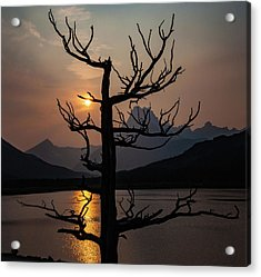 Acrylic Print featuring the photograph Swiftcurrent Sunset by Lon Dittrick