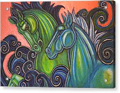 Swimming Horses  Acrylic Print by Lynnette Shelley