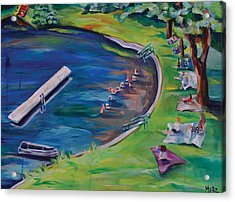 Swimming Lake On July Fourth Acrylic Print by Meredith Piper