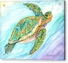 Swimming, Smiling Sea Turtle Acrylic Print