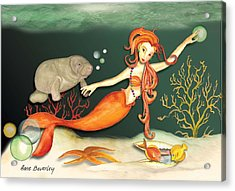 Acrylic Print featuring the painting Swimming With The Manatees by Anne Beverley-Stamps
