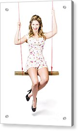 Swing Pinup Girl With Beauty Make-up And Hairstyle Acrylic Print