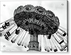 Swinging At Seaside Heights Mono Acrylic Print by John Rizzuto