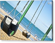 Acrylic Print featuring the photograph Swings On The Ocean Beach by Yurix Sardinelly