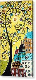 Swirl Tree Two Birds And Houses Acrylic Print by Karla Gerard