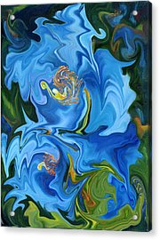 Swirled Blue Poppies Acrylic Print by Renate Nadi Wesley