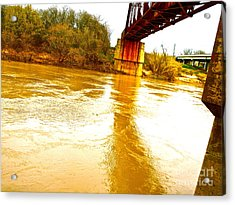 Swirling Good Water And Brazos Bridge Acrylic Print by Chuck Taylor
