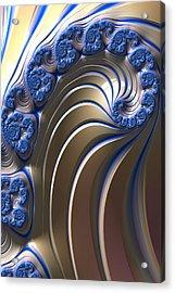 Swirly Blue Fractal Art Acrylic Print by Bonnie Bruno
