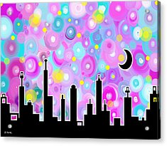 Acrylic Print featuring the painting Swirly Metropolis by Shawna Rowe