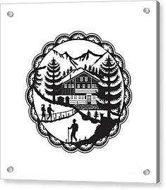 Swiss Chalet Alpine Hiker Decoupage Acrylic Print