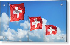 Swiss Flags - Flags Of Switzerland Acrylic Print by JR Photography