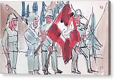 Swiss Soldiers With Flag Acrylic Print by Ernst Ludwig Kirchner