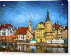 Swiss Town Acrylic Print by Pravine Chester