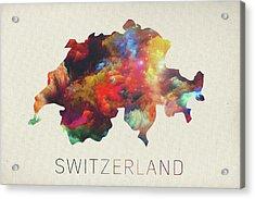 Switzerland Watercolor Map Acrylic Print