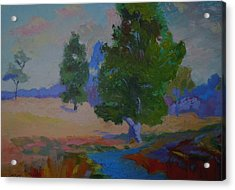 Acrylic Print featuring the painting Sycamore And Brook - Ohio Pasture by Francine Frank