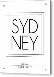 Sydney City Print With Coordinates Acrylic Print