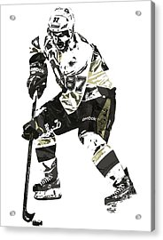 Sydney Crosby Pittsburgh Penguins Pixel Art3 Acrylic Print by Joe Hamilton
