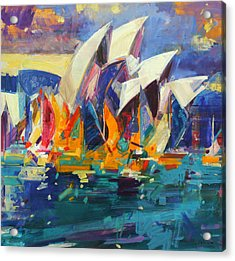 Sydney Flying Colours Acrylic Print by Peter Graham