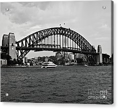 Sydney Harbour Bridge In Black And White Acrylic Print by Chris Smith