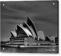 Sydney Opera House Print Image In Black And White Acrylic Print by Chris Smith