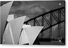 Sydney Opera House With Harbour Bridge Acrylic Print by Avalon Fine Art Photography