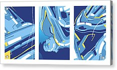 Symphony In Blue - Triptych 4 Acrylic Print