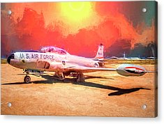 T-33 In The Desert Acrylic Print by Steve Benefiel