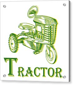 T Is For Tractor Acrylic Print by Edward Fielding