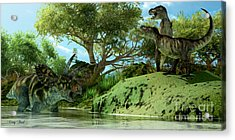 T-rex Defiance Acrylic Print by Corey Ford