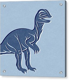 T-rex In Blue Acrylic Print by Linda Woods