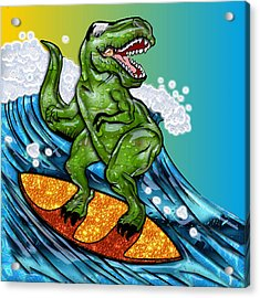 T Rex Surfing A Wave Acrylic Print