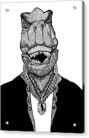 T Rex The Awesome Dinosaur Acrylic Print by Karl Addison