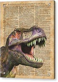 T-rex,tyrannosaurus,dinosaur Vintage Dictionary Art Acrylic Print