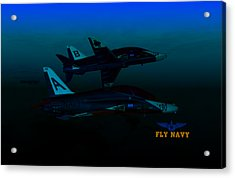 Acrylic Print featuring the digital art T45 Kiss-off Wt Wings by Mike Ray