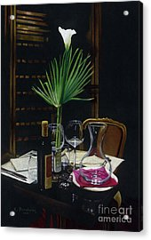 Table For Two A Night's Promise Acrylic Print by Kelly Borsheim