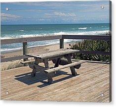 Table For You In Melbourne Beach Florida Acrylic Print by Allan  Hughes