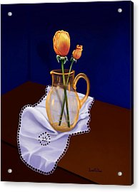 Acrylic Print featuring the painting Table Roses by Sena Wilson
