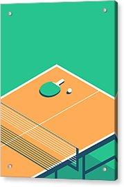 Table Tennis Table Isometric - Green Acrylic Print by Ivan Krpan
