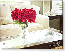 Table With Red Flowers Acrylic Print