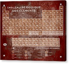 Tableau Periodiques Periodic Table Of The Elements Vintage Chart Sepia Red Tint Acrylic Print by Tony Rubino